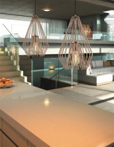 Pendant Lighting Transitional Modern QUINTUS Z-Lite 442MP-CR over the kitchen white counter