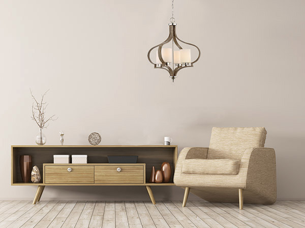 Luminaire suspendu traditionnel JASMINE Craftmade 46725-PLNWF dans le salon