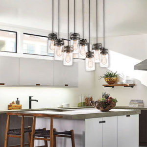 Pendant Lighting Industrial rustic BRINLEY Kichler 42890ni on a kitchen island