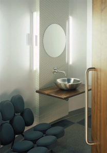 Wall Sconce Lighting Modern Kuzco ws10324-bn in a Bathroom over the sink