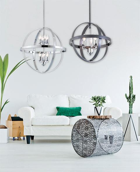 Luminaire suspendu contemporain COMPASS Dvi DVP18149GR-CH dans un salon contemporain.