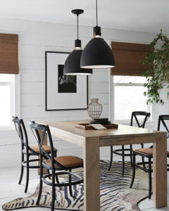 Pendant Lighting Transitional BRYNNE Feiss P1443MB-LED over a wooden kitchen table
