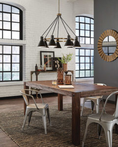 Pendant Lighting Transitional TOWNER Feiss 3141305-848 over a wooden kitchen table