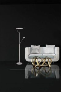 Floor Lamp torch Modern EUROPA Kendal tc4089-sn in the living room next to the chair