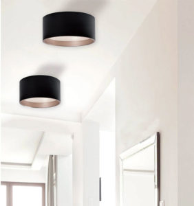 Recessed LED Modern Kuzco fm11418-bk to the ceiling of a bedroom