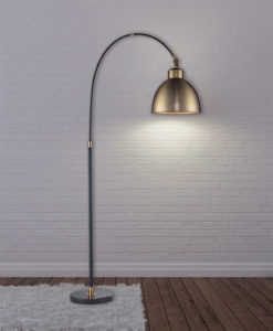 Floor Lamp Transitional Luce Lumen ll1271 lighted in a living room with white brick wall