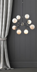 Pendant Lighting Transitional PARIS Signature M & M 3528 near a curtain with dark grey wall