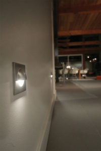 Recessed wall light LED  Contemporary Totec pkd502-bk-sn-wh lit in a corridor