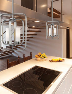 Pendant flush mount Lighting Transitional AIDEEN Z-Lite 6000SFC-CH on a kitchen island