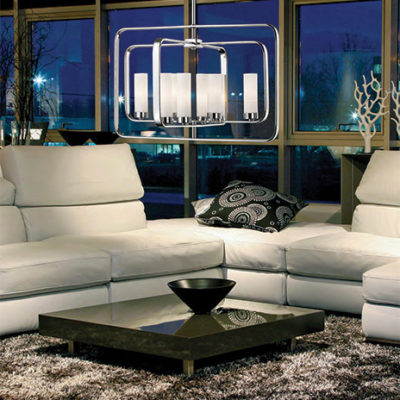 Pendant Lighting Transitional AIDEEN Z-Lite 6000-8A-CH lighted in a living room with white leather sofa