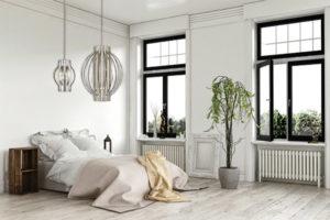 Pendant Lighting Transitional MOUNDOU Z-Lite 436-24BN in a white bedroom