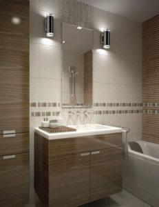 Luminaire mural double moderne NORFOLK Kuzco 601432ch-led dans une salle de bain chaque côté du miroir
