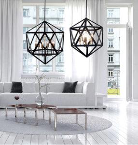 Luminaire Suspendu transitionnel ARCHELLO Dainolite ARC-185C-AB dans un salon moderne blanc