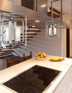 Luminaire Suspendu et/ou semi-plafonnier transitionnel AIDEEN Z-Lite 6000MP-BN au-dessus d'un ilot de cuisine