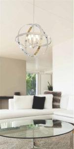 Luminaire suspendu contemporain COMPASS Dvi DVP18149CH dans le salon au-dessus de la table basse