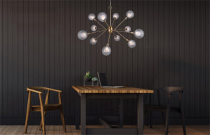 Pendant Lighting Modern ESTELLA Canarm ICH683A12GD9 over a dining table.
