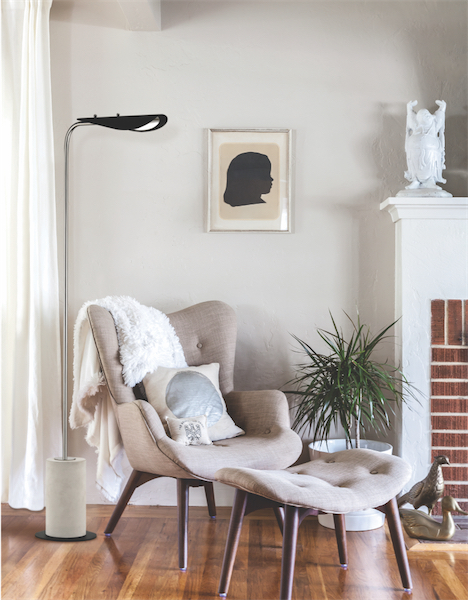 Floor Lamp Modern LAYLA Hudson Valley HL157401-PN/BK in a living room near the fireplace and the chair