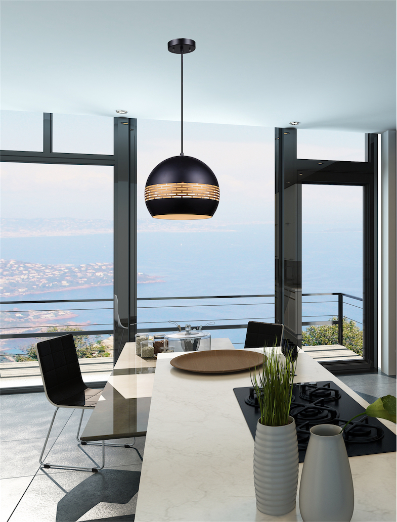 Pendant Lighting Modern Ulextra P562-20-BK in the kitchen above the table with water views