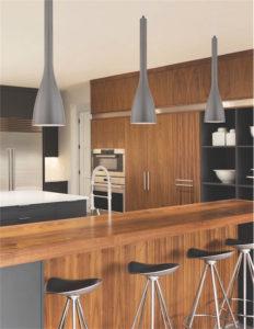 Luminaire suspendu moderne Dainolite 480-IP-MN au dessus d'un ilôt de cuisine