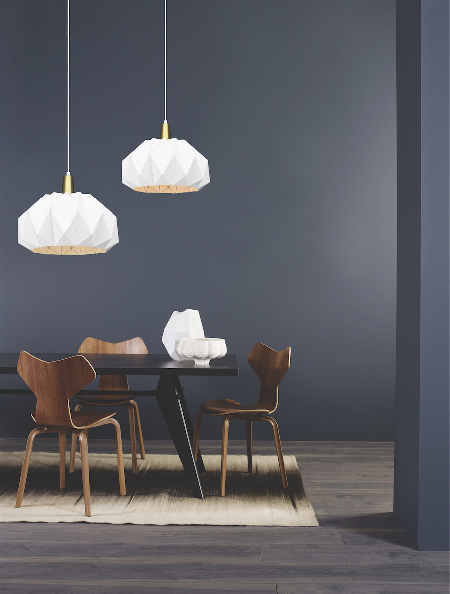 Pendant Lighting Modern THE ORIGAMI Matteo C70911WH over the kitchen table with dark wall