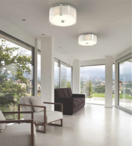 Luminaire semi-plafonnier contemporain ZURICH Dvi DVP14592CH-SS-OP dans un salon avec vue