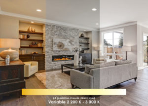 Recessed Lighting Modern LED LPDL Standard 63882  in a living room with a fireplace showing white to warm white dimming
