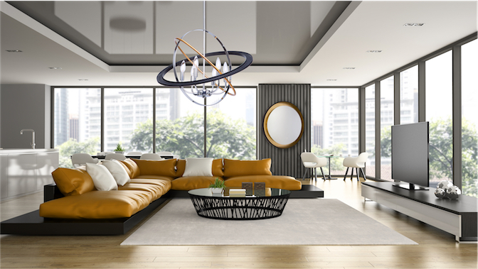 Pendant Lighting Modern COSMIC Artcraft CL15114 in a chic modern living room with large windows