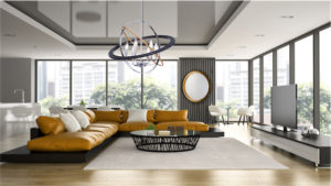 Pendant Lighting Modern COSMIC Artcraft CL15116 in a chic modern living room with large windows