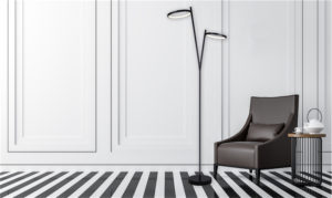 Floor lamp Modern LEXIE Canarm LFL128A62BK in a chic lounge near a leather chair