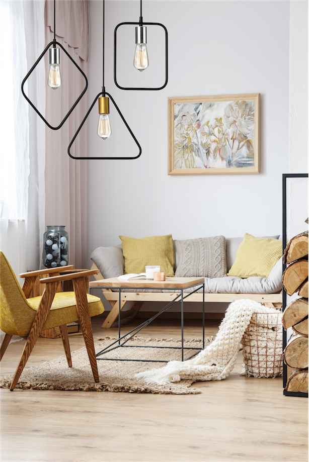 Pendant Lighting Modern Transitional GEOMETRIC Dainolite GMT-101P-MB-VB in a living room with yellow accents and wooden furniture