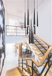 Pendant Lighting Modern RENAIE Matteo C62701MB in a wooden staircase in a prestigious decor