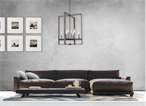Pendant Lighting Transitional BLAIRMORE Dvi DVP30249GR-IW-CL in the living room with leather sofa and concrete wall