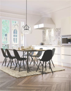 Pendant Lighting Modern DECO Kuzco PD61412-CL-VB above a black dining room table
