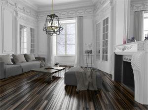Luminaire suspendu transitionnel GIVENCHY Dvi DVP25648SG-GR dans le salon près du foyer avec murs blancs