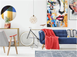 Printed canvas ARA Renwil OL1675 in a colorful room with blue couch