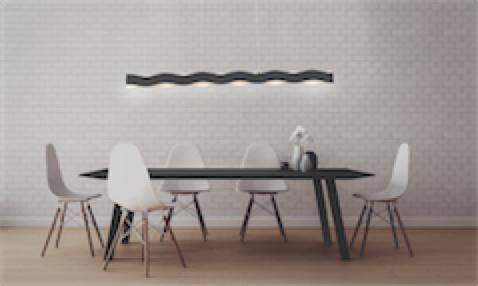 :uminaire suspendu moderne RIPPLE Eurofase 35955-016 au-dessus d'une table  noire avec chaises blanches et mur de briques blanches