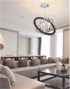 Plafonnier moderne COSMIC Artcraft CL15112 dans un salon avec divan en cuir beige et table en bois