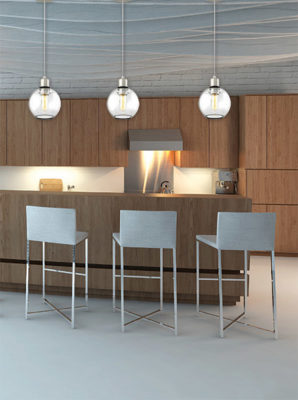Luminaire suspendu moderne OCEAN DRIVE Dvi DVP20821SN-CH-Cl dans une cuisine moderne