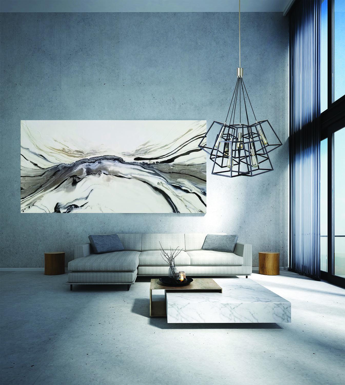 Luminaire suspendu iL IL001-1005BK dans un salon lumineux chic moderne avec table en marbre et haut plafond
