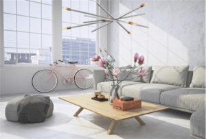 Luminaire suspendu moderne ARCHER Hinkley 4766BN dans un salon style industriel avec vélo rose et fleurs roses