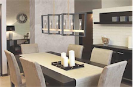 Luminaire suspendu transitionnel BLAIRMORE Dvi DVP30202GR-IW-CL au-dessus d'une table de salle à manger avec chandelles