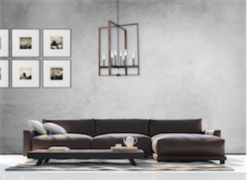 Luminaire suspendu transitionnel BLAIRMORE Dvi DVP30249GR-IW-CL dans le salon avec divan en cuir et mur de béton