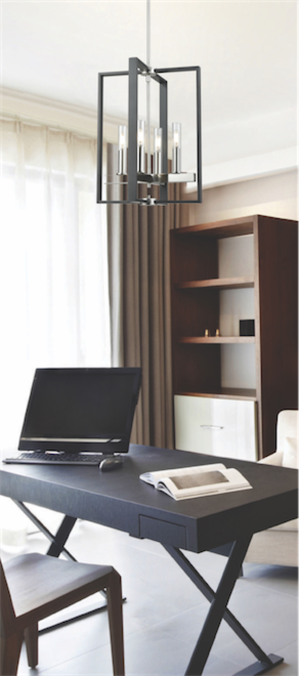 Luminaire suspendu transitionnel BLAIRMORE Dvi DVP30248SN-GR-CL dans le bureau avec bibliothèque en bois