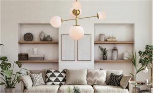 Luminaire suspendu MODERNE VESPER MAXIM ET2 26037SWSBRBK dans le salon avec divan beige