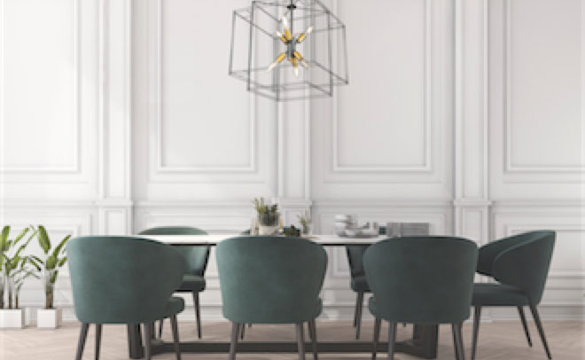 Modern pendant ARTISAN Artcraft AC11738BK above the dining room table with green velvet chairs and white coffered walls.