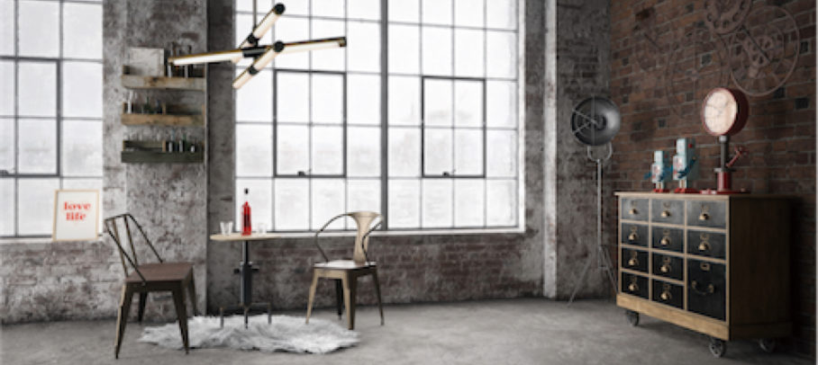 Pendant lighting ROLLO E24943-APBK in an industrial loft with brick walls and concrete floors