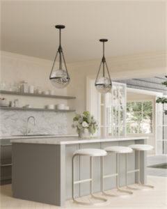 Luminaire suspendu moderne HARMONY Alora PD306418MBWC au-dessus de l'ilôt de cuisine avec vue sur l'extérieur