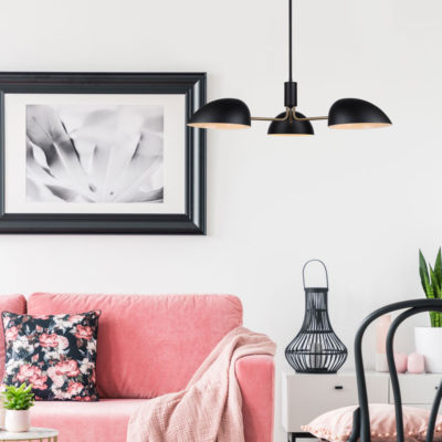 Modern pendant HINTON Canarm ICH1054A03BKG in the living room above the pink couch with pink throw
